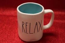 "RAE DUNN ARTISAN COLLECTION MAGENTA ""RELAX"" BLUE INTERIOR COFFEE TEA MUG(s) NEW"