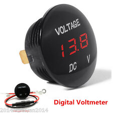 DC12V Mini Round Panel Red LED Digital Voltage Meter Autos Car Voltmeter Display