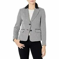 $119 Kasper Women's 2 Button Notch Collar Textured Houndstooth Jacket Black 12
