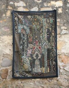 Handmade Wall Hanging Antique Zari Decor Vintage Tapestry