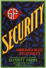*Original* SECURITY FARMS Guadalupe SANTA MARIA Vegetable Crate Label NOT A COPY