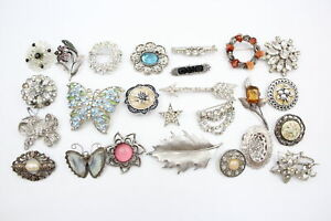 25 x Vintage Costume Brooches Inc. Rhinestone, Butterfly, Scottish, Scarf Clip