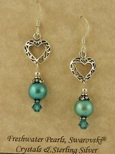 Sterling Celtic filigree Heart earrings w/ teal pearls & Swarovski crystal beads