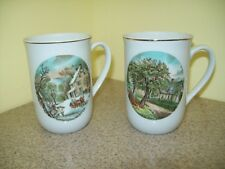 Armbee San Francisco Currier & Ives Winter & Autumn Coffee/Coco Mugs (Set of 2)