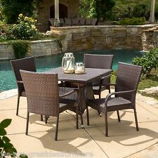 Outdoor Patio Furniture 5pc Multibrown Wicker Square Dining Set