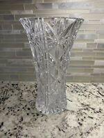 """Vintage 12"""" Large Heavy Crystal Flower Vase Glass 24% Lead Beautiful"""