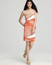 Milly Tangerine Orange White Shell Print Strapless Dress $285 NWT 2