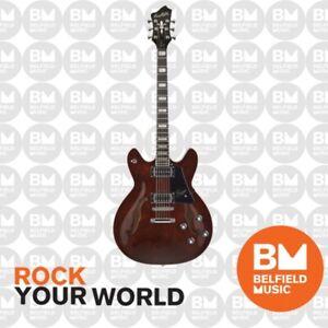Hagstrom Justin York Super Viking Electric Guitar Semi-Hollow Trans Brown & Case