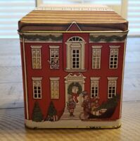 Vintage Tin Box Company Of America Christmas House Tin. 4 in tall. Lid comes off