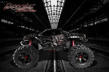 "TRAXXAS X-MAXX GRAPHICS WRAP DECALS ""MACHINEHEAD"" FITS OEM BODY PARTS BLACK"
