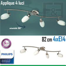 APPLIQUE 4 LUCI LED E14 ACCIAIO VETRO SATINATO 82 CM ORIENTABILE PHILIPS CAMPANA