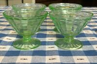 Set of 4 Green Depression Glass Block Optic Footed Sherbet Dishes Anchor Hocking