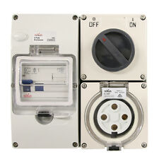4 pin 50 Amp RCD PROTECTED - Switched Socket Outlet IP66 INDUSTRIAL 3 PHASE