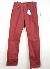 Levis 501 Men's Jeans Red Button Fly Shrink to Fit Denim Pants Straight Leg NWT