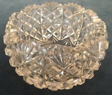 RARE BRILLIANT CUT ROUND STARBURST CRYSTAL COMPOTE JAM FRUIT CANDY DISH DISPLAY