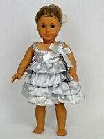 """Silver Ruffle Dress Fits 18"""" American Girl Doll Clothes"""