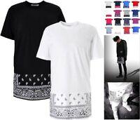 Oversized Paisley Print Bandana Celebrity  Long T Shirt Kanye Dope SWAG Kids
