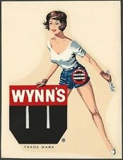 "VINTAGE ORIGINAL 1964 ""WYNN'S FRICTION PROOFING OIL"" HOT RAT ROD WATER DECAL ART"