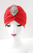 Red & Silver Diamante Rhinestone Embellished Turban Vintage Flapper 1920s Y91