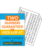 Head Start lottery numbers Pick 6/47 balls - 2 Balls Guaranteed!  Lotto 47 ++