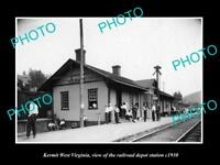 OLD LARGE HISTORIC PHOTO OF KERMIT WEST VIRGINIA, THE RAILROAD STATION c1930