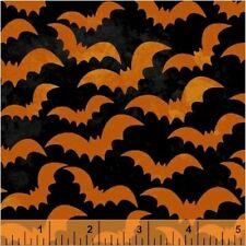 By 1/2 Yd~Eat Drink & Be Scary~Windham Halloween~42904-4~Orange Bats On Black