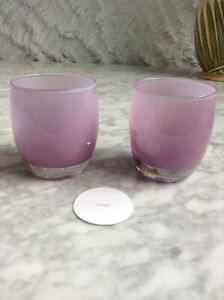 Pair of Pink Glassybaby Glass Votive Candle Holder Sister