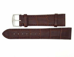 New 20mm Brown Genuine Leather Watch Strap Steel Buckle For Longines