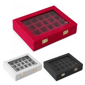 Velvet Glass 24 Grid Jewellery Earring Ring Display Storage Box Tray Holder Case