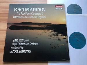 CHANDOS DBRD 2001 RACHMANINOV - 4 PIANO CONCERTOS ++ *EARL WILD* 2 LPs NM