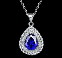 "Heart Blue Sapphire Topaz 925 Sterling Silver Pendant 19"" Chain Necklace Box S3"