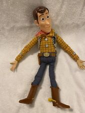 """TOY STORY TALKING WOODY PULL STRING Doll  16"""" with Andy signed foot No Hat"""