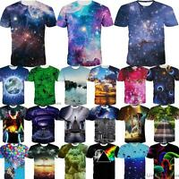 Galactic Nebula Star Universe 3D Print Crew Neck  Short Sleeve Tees Tops T-Shirt