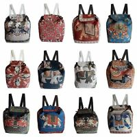 Rucksack Baumwolle Elefant en Muster gewebt Backpack Stoff Tasche leicht Shopper