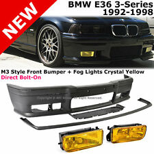 BMW E36 3-Series 92-98 M3 Style Front Bumper Cover Lip Yellow Fog Lamps Lights