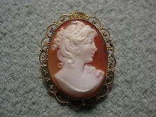 Beautiful Woman Shell Cameo Brooch Pendant - Victorian -