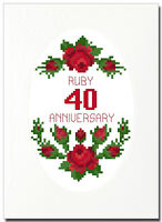 RUBY (40) ROSES ANNIVERSARY CROSS STITCH CARD KIT
