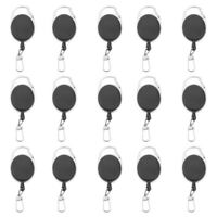 15pcs Black Retractor Retractable Badge Reel Key Chain Key Holder Zinc Alloy
