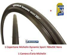 "Copertone + Camera Michelin Dynamic Sport 700x23C Nero per Bici 28"" Trekking Str"