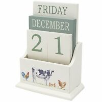 Country Life Wooden Perpetual Calendar Desk Top Office Home