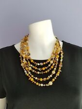 Multi layered strand Necklace with Semi Precious Beads w/ silver hook closure