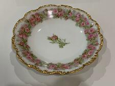 Antiguo Jean Pouyat Limoges Porcelana Cuenco W/ Rosa / Decoración Floral