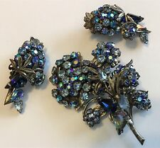 VTG ORIGINAL BY ROBERT SIGNED HASKELL ERA SHADES OF BLUE RHINESTONE BROOCH SET