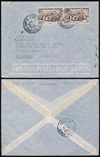 FRENCH GUINEA NZEREKORE to SWITZERLAND ST MAURICE 15F RAILCAR x 2 AIRMAIL 1953