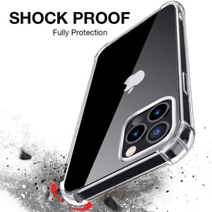 For iPhone 13 12 Pro MAX 7 8  XR XS MAX 11 Shockproof Silicone Clear Case Cover