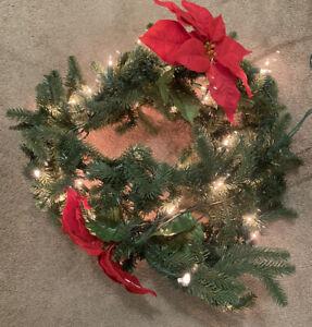8 Foot White LIGHTS LIGHTED PINE GARLAND Christmas Decor