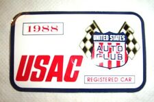 1988 Indianapolis Motor Speedway USAC Registered Decal / Vintage Racing Indy 500