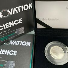 Stephen Hawking 50p Coin Silver Proof in the Royal Mint box with COA No
