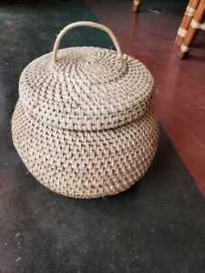 Vintage Rattan Natural Brown Wicker Rattan Ball Shaped Basket FREE SHIPPING