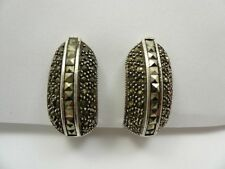 Sterling Silver Marcasite Half Hoop Clip On Earrings